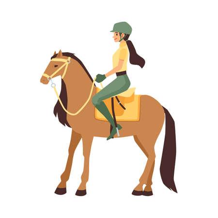 Woman jockey sitting on horseback, flat vector illustration isolated on white background. Female cartoon character of participant of equestrian competition. Ilustracje wektorowe