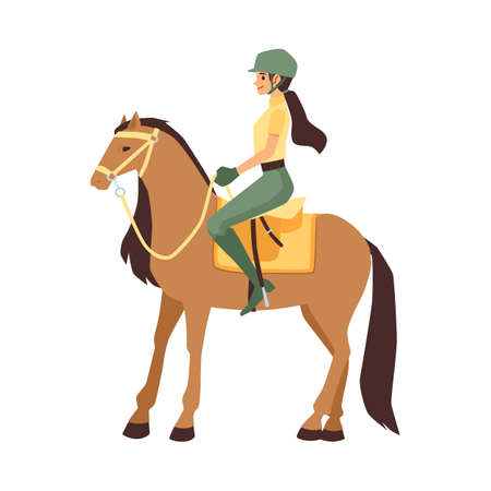 Woman jockey sitting on horseback, flat vector illustration isolated on white background. Female cartoon character of participant of equestrian competition.