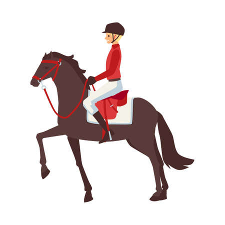 Equestrian sport male rider in red uniform on brown horse, flat cartoon vector illustration isolated on white background. Horse competition jockey or horse rider.