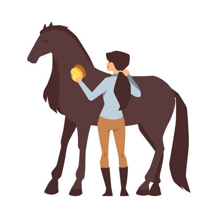 Young woman cleaning a horse. The girl groom takes care of a beautiful thoroughbred chestnut animal horse. Flat cartoon vector illustration isolated on a white background