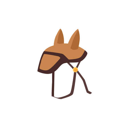 Jockeys saddle for horseback ride cartoon simple icon, flat vector illustration isolated on white background. Equestrian horse harness support col element. Ilustração