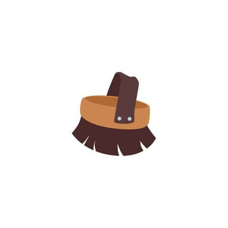 Animal fur or horse mane brush with handle, flat cartoon vector illustration isolated on white background. Brush tool for pets and farm animals caring.