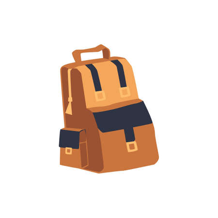 Brown backpack for traveling and backpacking, flat vector illustration isolated on white background. School or tourist, fashion sport backpack or rucksack.
