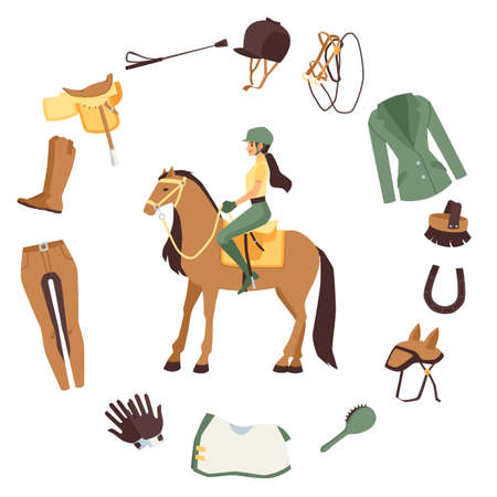 Banner with horse rider character in frame of horse harness and equestrian equipment accessories, flat vector illustration isolated on white background.