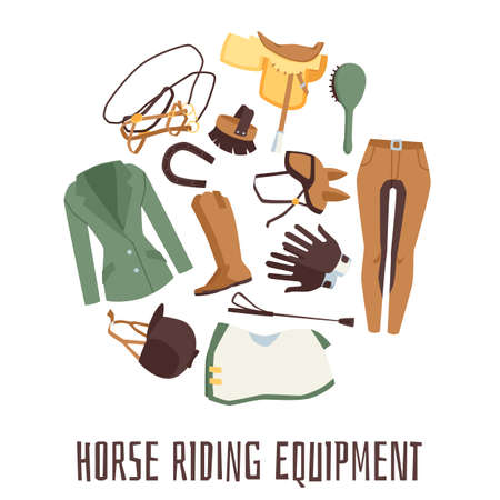 Banner for equestrian with horse riding equipment and harness flat vector illustration isolated on white background. Equestrian sport poster with riders outfit.