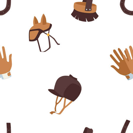 Elements of horse riding sport. Parts of professional jockey clothing with helmet and gloves, flat cartoon vector illustration isolated white background