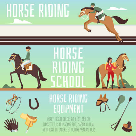 Horse riding school or equestrian club banners set, flat cartoon vector illustration. Horizontal flyers or advertising banners collection for horse ride lessons.