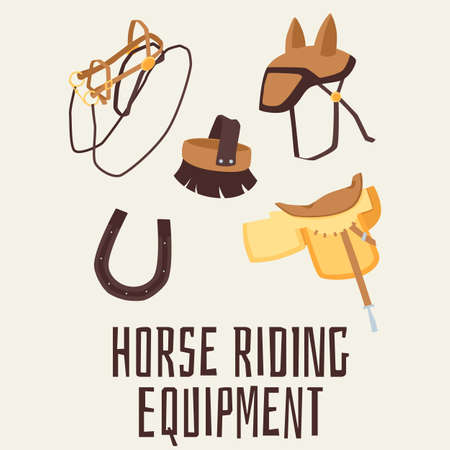 Horse riding equipment banner with accessories for equestrian and horse care, flat vector illustration. Horse harness cartoon icons on color background.