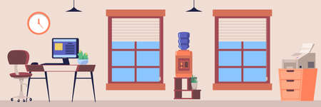 Empty modern office interior equipped with furniture and work appliances, flat vector illustration. Workplaces of company employees in the office space.