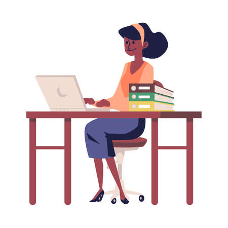 Business woman or office worker character working on laptop in office, flat vector illustration isolated on white background. African American female company employee. Illusztráció