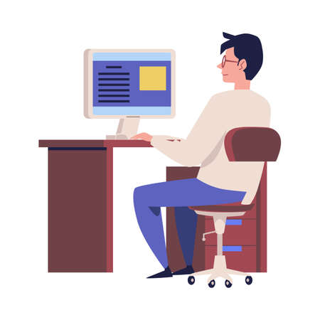 Employee working with computer at office. Office interior furniture for workplace desktop indoors, flat cartoon vector illustration isolated white background