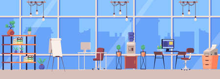 Horizontal picture of modern office interior in skyscraper or office building. Workplace furniture in open space for productive work, flat cartoon vector illustration