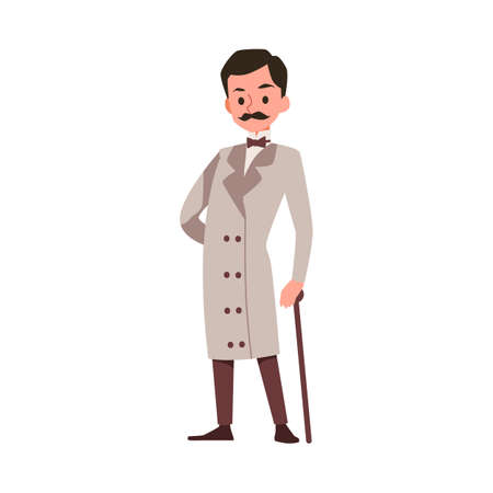 Cartoon retro character of victorian gentleman in elegant vintage long coat and with walking stick, flat vector illustration isolated on white background.