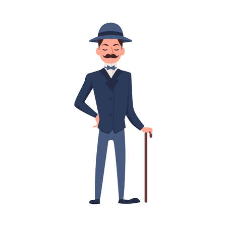 A character of strict english aristocrat. A victorian gallant dandy, a gentleman in an elegant blue suit, hat and carrying a cane. Flat cartoon vector isolated illustration Ilustração