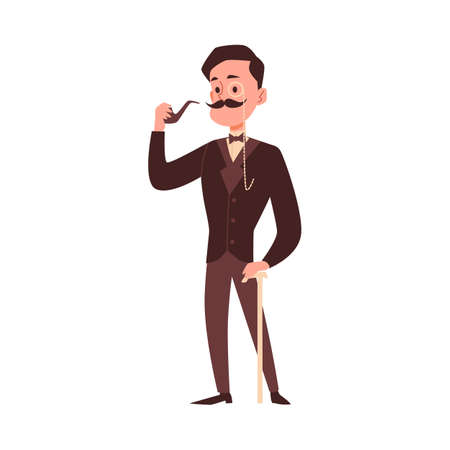 Elegant gentleman of 19th century vintage cartoon character, flat vector illustration isolated on white background. Gentleman leaning walk cane and smoking a pipe.
