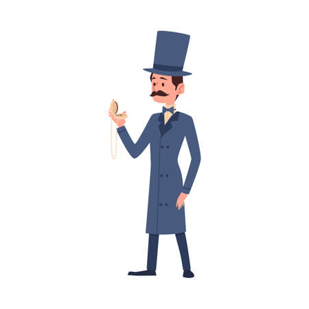 Victorian gentleman retro cartoon male character, flat vector illustration isolated on white background. Vintage fashion elegant gentleman or dandy with mustache. Ilustração