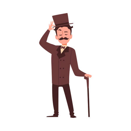 Cartoon character of a victorian english aristocrat. A gallant courteous man, a gentleman in an elegant brown suit, bowler and carrying a cane. Flat vector isolated illustration