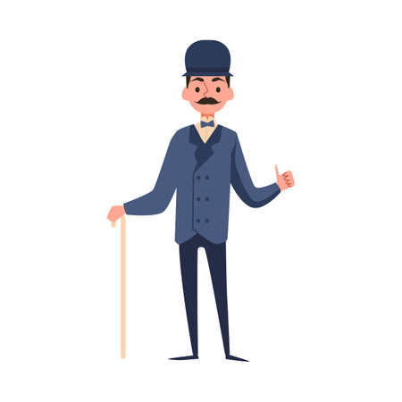 Victorian gentleman dressed in 19th century fashion with a cane and a bowler hat, flat vector illustration isolated on white background. Gentleman cartoon character.