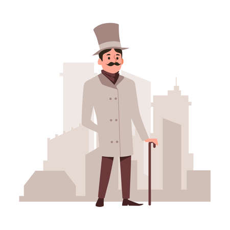 Respectable vintage gentleman in cylinder hat cartoon character standing at backdrop of city panorama, flat vector illustration isolated on white background. Ilustração
