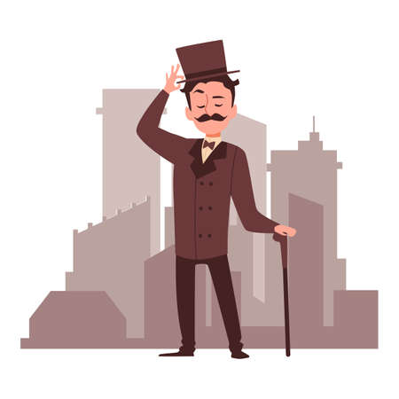 Cartoon character of victorian gentleman at backdrop of city buildings, flat vector illustration isolated on white background. Vintage personage of elegant gentleman.
