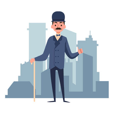 A victorian gentleman. A character in an elegant suit and cap. Gallant english aristocrat on the background of city buildings. Flat cartoon vector illustration isolated on a white