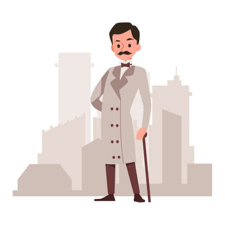 Victorian gentleman wearing beige coat and cane with city skyline on background. British man in traditional, flat cartoon vector illustration white background