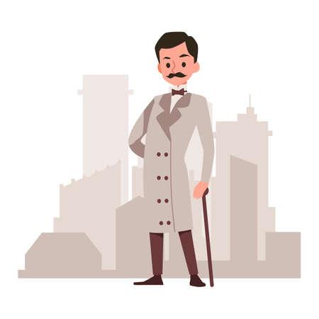 Victorian gentleman wearing beige coat and cane with city skyline on background. British man in traditional, flat cartoon vector illustration white background Ilustração