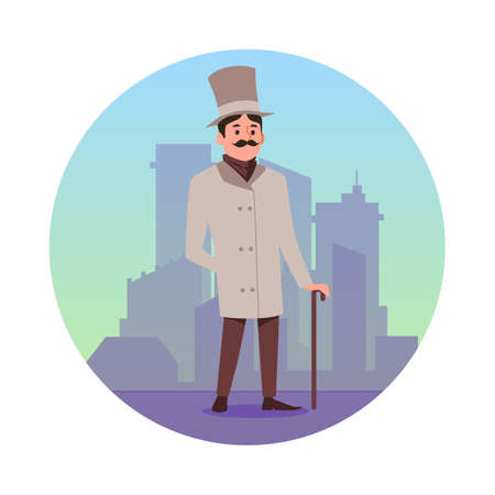 Victorian gentleman cartoon character in long coat and cylinder hat, cartoon flat vector illustration. Gentleman standing leaning on walking cane at background of city.