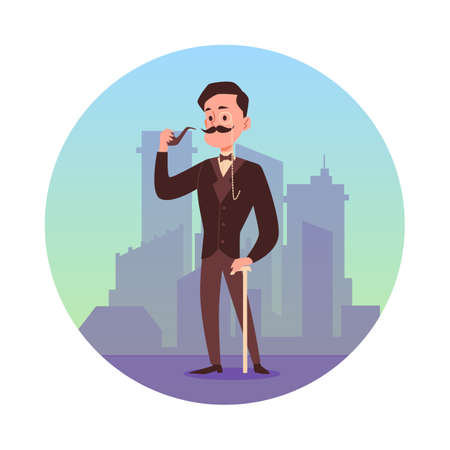 Victorian gentleman with mustache cartoon character at backdrop of foggy city, flat vector illustration isolated on white background. Circle frame with gentleman. Ilustração
