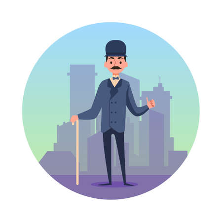 Circle banner or emblem with character of victorian gentleman standing at backdrop of city buildings, flat vector illustration isolated on white background.