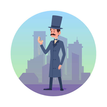 Circle frame with cartoon victorian gentleman at backdrop of city buildings, flat vector illustration isolated on white background. Retro vintage dandy or gentleman. Ilustração
