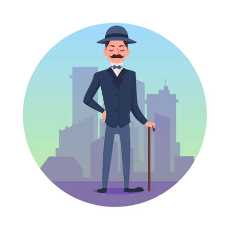Victorian gentleman with city skyline in circle icon. Aristocrat Man wearing traditional smoking with hat and cane, flat cartoon vector illustration white background 矢量图像