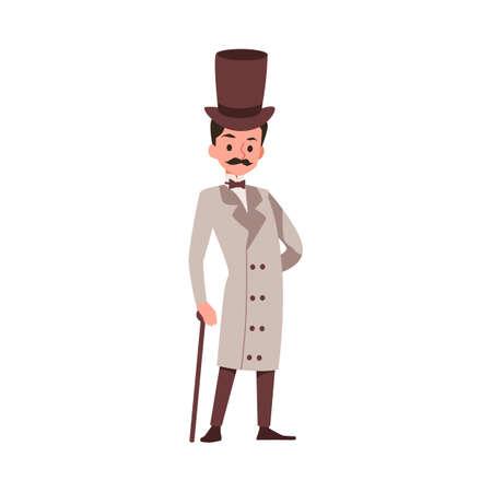 Cartoon character of fashionable victorian gentleman in elegant vintage cylinder hat leaning on a walking stick, flat vector illustration isolated on white background. Ilustração