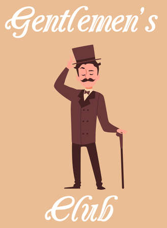 Gentlemen club poster. Victorian gentleman with moustache wearing traditional brown smoking with top hat and cane banner, flat cartoon vector illustration