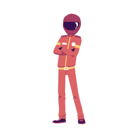 Cartoon standing character racer in a helmet and red uniform. Carting, racing, sports competitions or entertainment. Flat isolated vector illustration