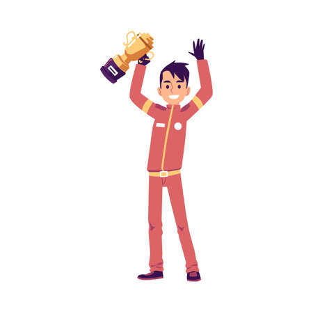 Car race driver or pilot in uniform protective suit holding trophy cup, flat vector illustration isolated on white background. Winner of car speed competition.