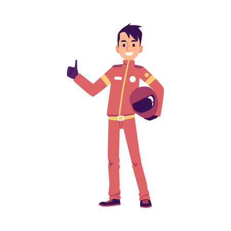Pilot of sport car or speed races driver standing rising thumb up, flat vector illustration isolated on white background. Racer in red suit with gesture of winner.