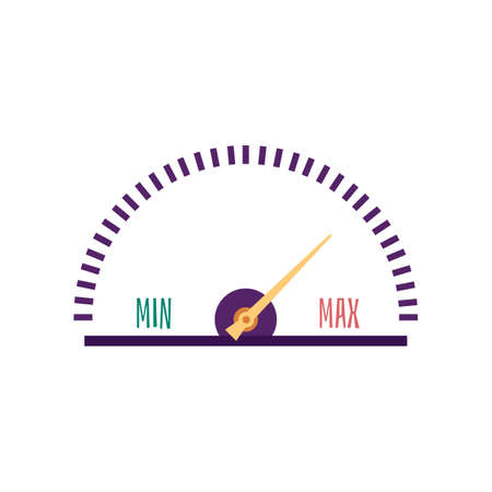 Speedometer, tachometer, odometer with arrow. Measurement of the speed of the racing car. Isolated icon on a white background. Flat vector illustration.