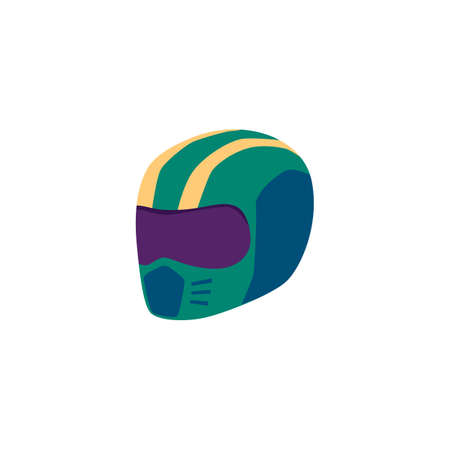 Helmet of car racing driver or motorcyclist flat vector illustration isolated on white background. Safe protective helmet equipment of racer sportsman. Illustration