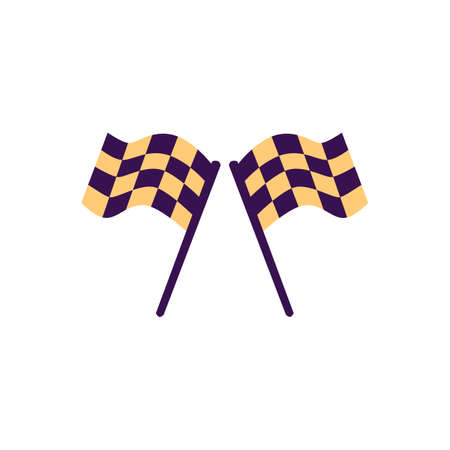 Two racing checkered black and yellow flags for giving start to race competition, flat vector illustration isolated on white background. Start or finishing flags.