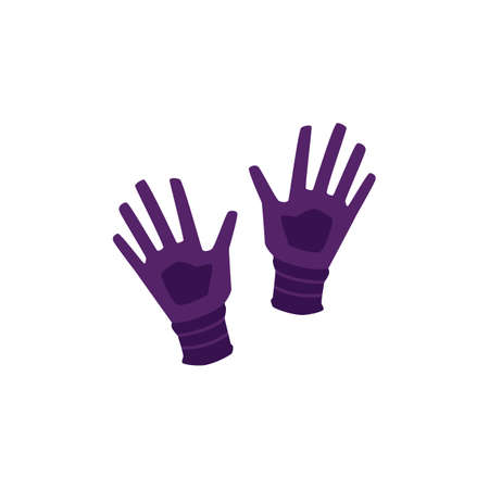 Rubber protective gloves for industrial and domestic job, flat vector illustration isolated on white background. Wear to protect hands from injury and dirt.