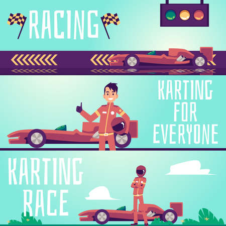 Karting race and racing flyers or horizontal banners set with cartoon character of race driver, flat vector illustration. Car race competition and karting track ad.