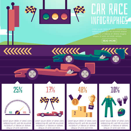 Banner with infographics of car races. Symbols of the motorsport championship and Formula 1 racing cars on the tracks. Sports racing competitions. Vector flat illustration