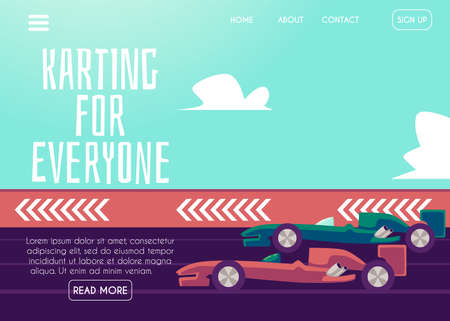 Karting website page template with high speed racing cars, flat vector illustration. Landing page banner for kart racing, driving school and competition.