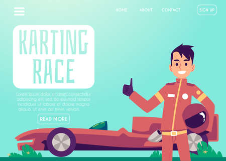 Karting race with red automobile and car driver wearing red suit landing page for internet website. Racing competition championship, flat cartoon vector illustration Ilustração