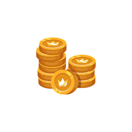 Money coins stacked and stamped with royal crown, cartoon flat vector illustration isolated on white background. Pile of golden penny cash or treasures.