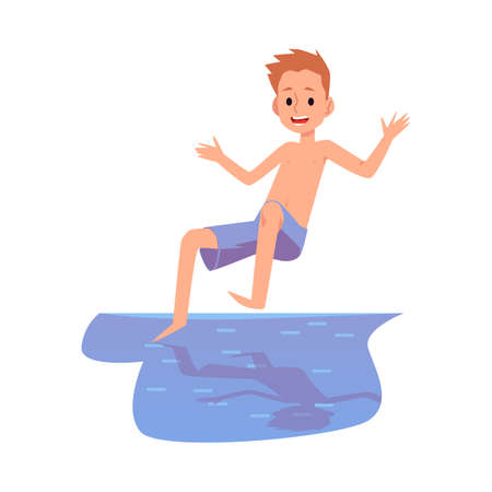 A cheerful kid boy jumps into the water. The child is having fun on the summer beach or in the pool. Flat cartoon vector illustration isolated on a white background.