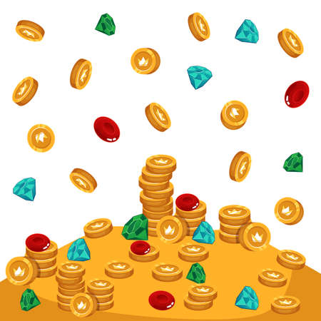 Stack of various treasures and golden coins, flat cartoon vector illustration isolated on white background. Precious colorful gems and gold coins falling in pile.