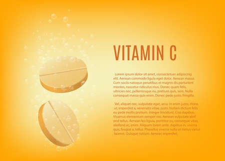 Banner template for fizzy vitamin C tablets, realistic vector illustration on bright yellow background. Vitamin C nutritional supply advertising poster layout.
