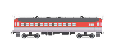 Red and grey train carriage and part of locomotive and composition. Large passenger wagon for railways, flat cartoon vector illustration isolated white background